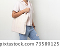 Mock-up girl carrying a white cloth bag On a white background 73580125