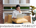 Asian young Businesswoman working laptop computer on wood desk in Home 73580127