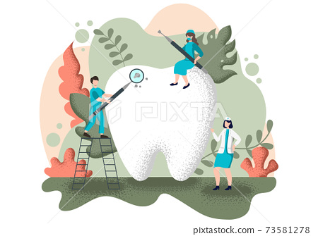 Dental Office Flat Color Illustration. Hospital interior with Workplace, Equipment, Instruments, Consultation, Treatment and Diagnosis 73581278