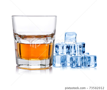 glass of whiskey with ice isolated on a white background 73582012