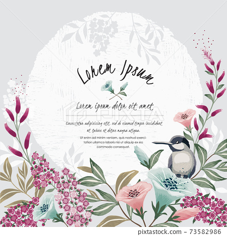 Vector illustration of a floral frame with a cute bird in spring for wedding, anniversary, birthday and party. Design for banner, poster, card, invitation and scrapbook  73582986