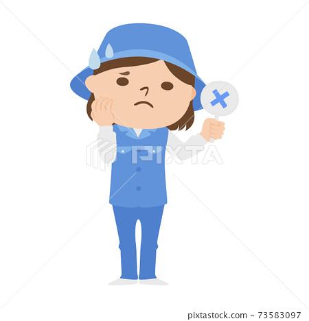 球童路線女性高爾夫球例證工作。婦女在十字架上遇到麻煩。 73583097
