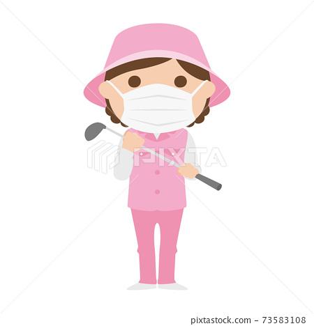 球童路線女性高爾夫球例證工作。戴著面具的女人。 73583108