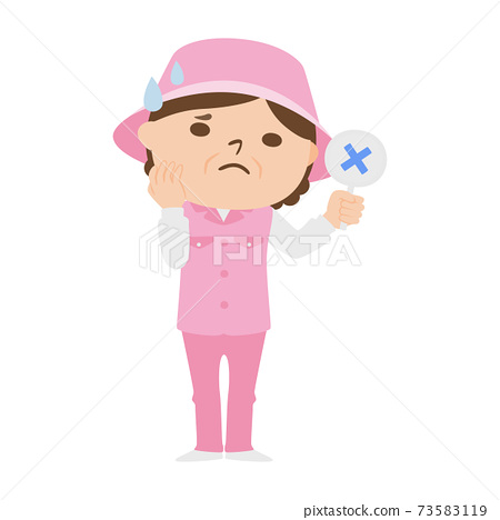 Illustration of a female caddy working on a golf course. Women are in trouble with a cross. 73583119