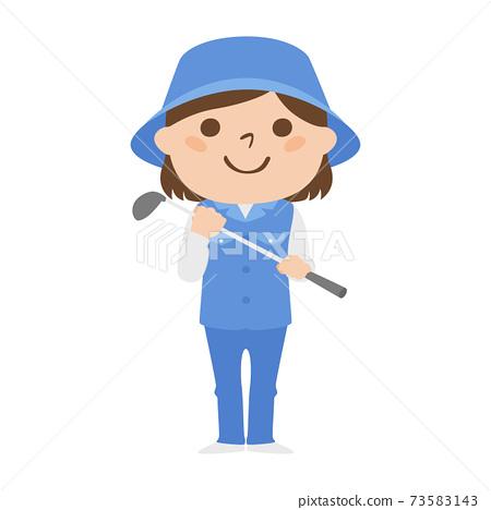 球童路線女性高爾夫球例證工作。站立與高爾夫俱樂部的婦女。 73583143
