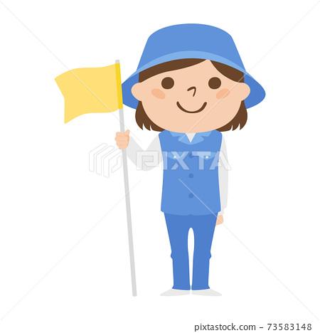 球童路線女性高爾夫球例證工作。拿著旗子別針的婦女。 73583148