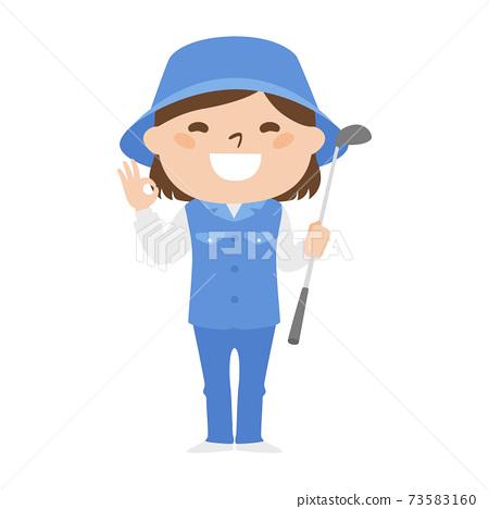 球童路線女性高爾夫球例證工作。用手給一個好的跡象的婦女。 73583160
