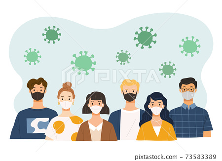 People wearing face mask for virus protection.  73583389
