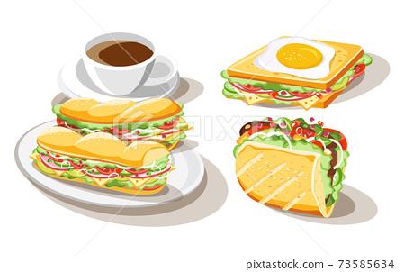 Breakfast sandwich set of food on white background, vector illustration 73585634