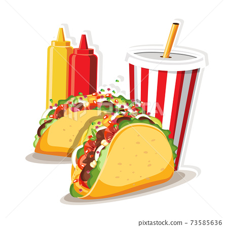 Tacos with meat and vegetable, Taco Mexico food vector illustration. 73585636