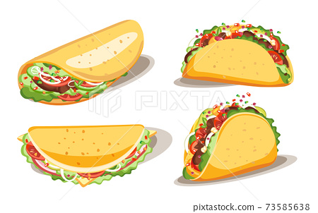 Taco and burrito, Fast food with sauce, Mexican traditional food, Isolated vector illustration 73585638