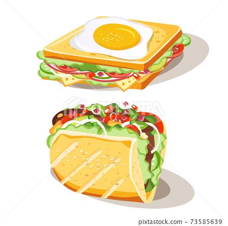 Breakfast sandwich set of food on white background, vector illustration 73585639