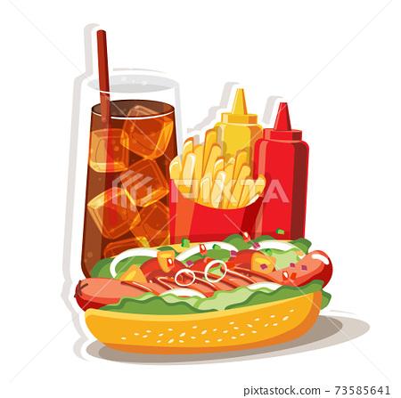 Hot dog Fast food set, Isolated vector illustration 73585641
