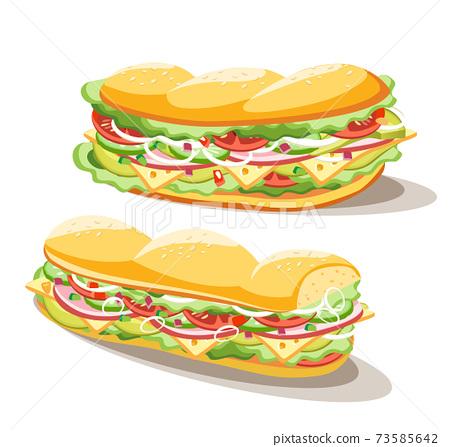 Breakfast sandwich set of food on white background, vector illustration 73585642
