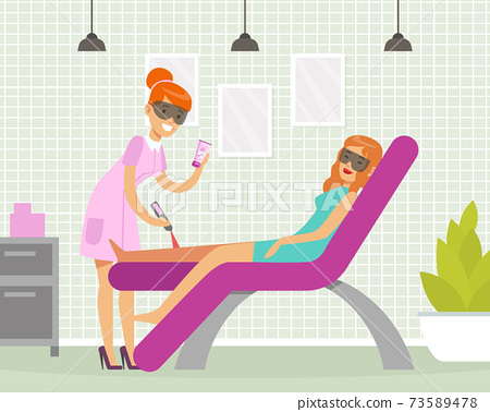 Female Engaged in Sugaring or Legs Epilation Vector Illustration 73589478