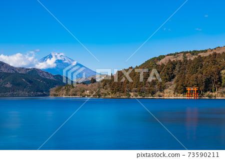 아 시노 코에서 바라 보는 후지산 冬景 73590211