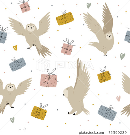 Seamless pattern with cute owls anf gift boxes 73590229