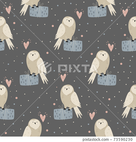 Seamless pattern with cute owls anf gift boxes 73590230