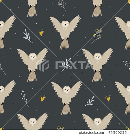 Seamless pattern with cute flying owls and hand drawn decorative elements 73590236
