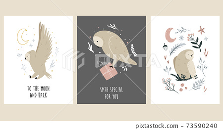 Set of greeting cards with cute, funny owls. 73590240