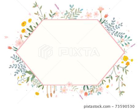 時髦的花朵和葉子的可愛的植物框架插圖 73590530