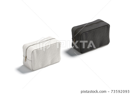 Blank black and white canvas cosmetic bag mockup, side view 73592093