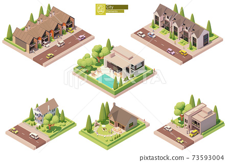 Vector isometric buildings, suburban houses 73593004