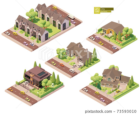 Vector isometric buildings, suburban houses 73593010