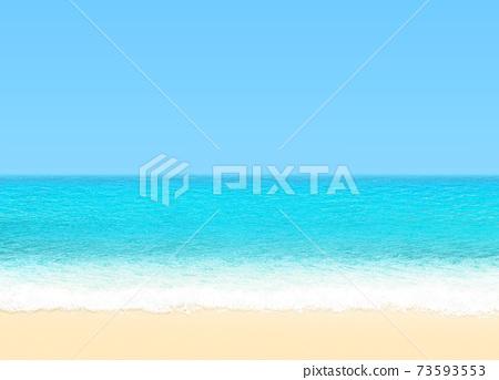 Sandy blue ocean shore. 73593553