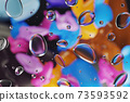 3D Illustration of group of drops on glass with colorful and blurred background. 73593592