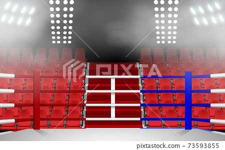 Boxing ring with spotlight and red seat in the hall 73593855