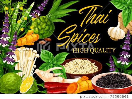 Thai spices, herbs, Asian cuisine food seasonings 73596641