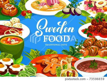 Sweden food vector poster with Swedish meals. 73596659