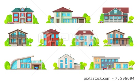 Houses and mansion real estate building icons 73596694