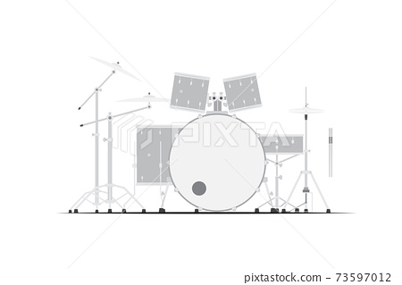 A gray drum set isolated on white background 73597012