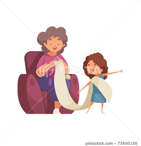 Grandma Granddaughter Illustration 73600180