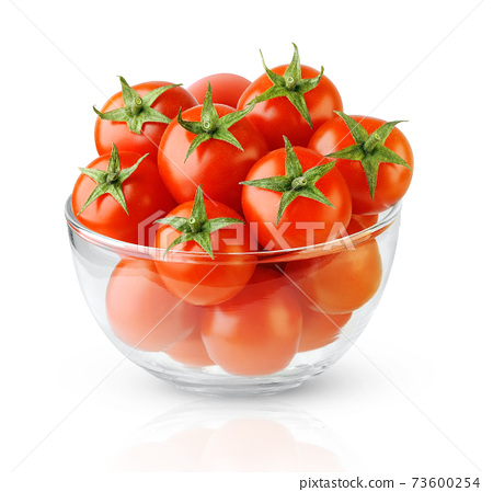 Isolated cherry tomatoes in a glass bowl 73600254