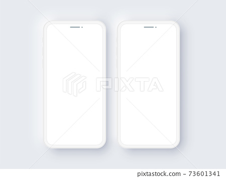 Realistic Double Mobile Phone Neomorphism Template Mockup Vector 73601341