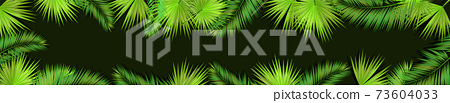A Long horizontal frame of palm leaves. Hello summer. Vector illustration 73604033