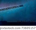 Railway watercolor running through the galaxy 73605157