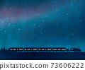Night sky and railroad watercolor 73606222