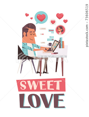 man in love using laptop chatting with girlfriend valentines day celebration concept greeting card 73606519