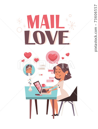 woman in love using laptop chatting with boyfriend valentines day celebration concept greeting card 73606557