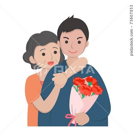 母親節漫畫人物向量插畫的卡片,母親與兒子慶祝節日與康乃馨 73607853