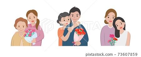 母親節漫畫人物向量插畫,母親與女兒與兒子慶祝節日與康乃馨集 73607859