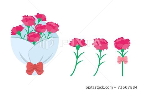 母親節粉紅色康乃馨花束組合向量元素 73607884