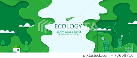 Paper art of Sustainability in green eco city, alternative, renewable  energy and ecology conservation concept. 73608716