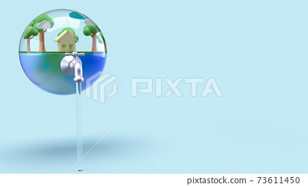 The earth in water drop for world water day or ecology concept 3d rendering. 73611450