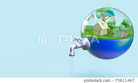 The earth in water drop for world water day or ecology concept 3d rendering. 73611467
