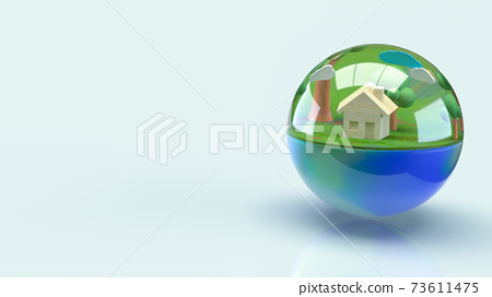 The earth in water drop for world water day or ecology concept 3d rendering. 73611475